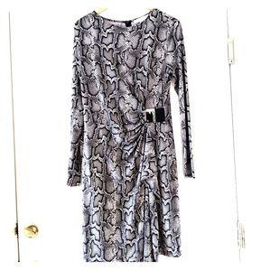Michael Kors Snakeskin Faux Wrap Dress